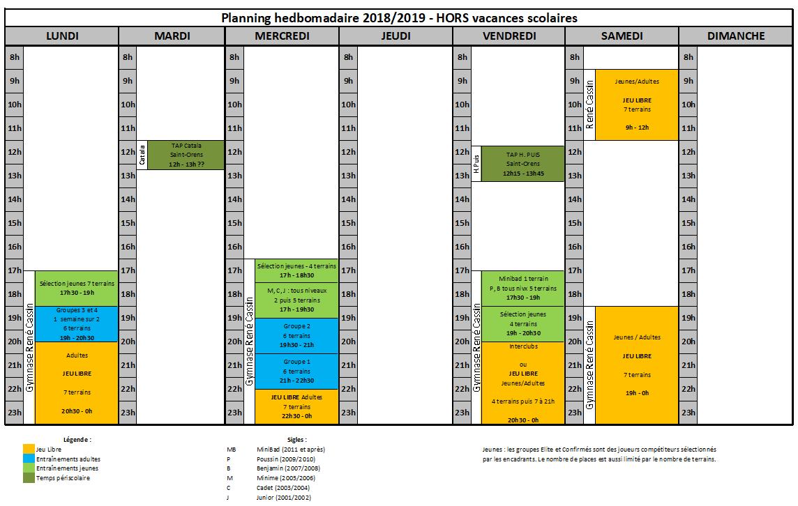 Planning HORS vacances scolaires