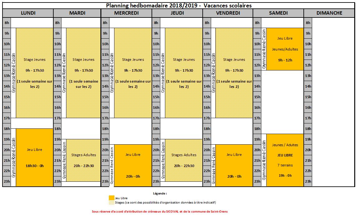 Planning EN vacances scolaires